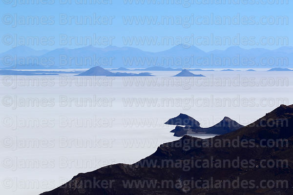 View of Salar de Uyuni and islands from Tunupa volcano, near Tahua, Bolivia