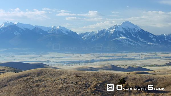 The Absaroka mountains tower above the Paradise Valley and Yellowstone river near Yellowstone National Park