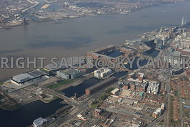 Liverpool high level view of The Baltic Triangle development area of Liverpool City Centre and Albert Dock and the river Mersey in the background