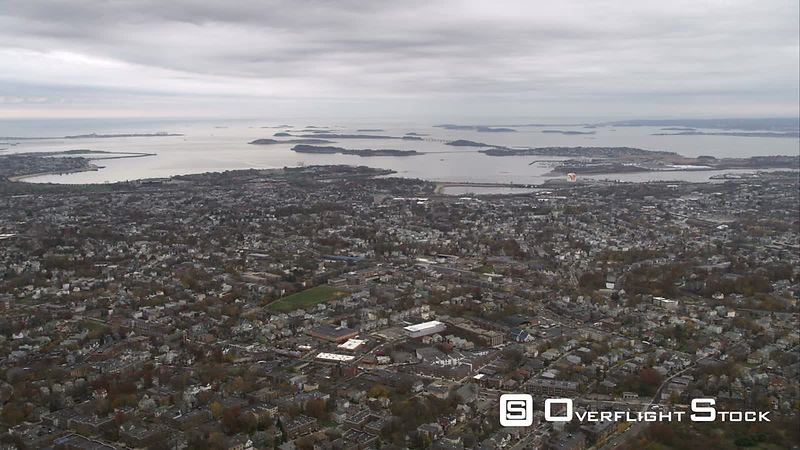 Flying North Over Dorchester, Massachusetts, Looking Toward Boston Harbor. Shot in November