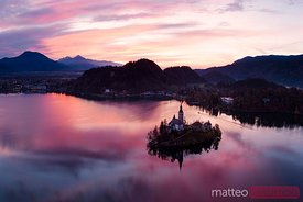 Aerial view of lake Bled at sunrise, Slovenia