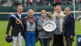 Oliver Townend and Miss Karyn Shuter & Mrs Angela Hislop & Mrs Val Ryan during prize giving, Land Rover Burghley Horse Trials 2017