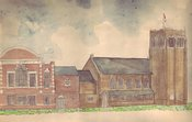 Pencil drawing from life of Abington Avenue Congregational Church (now Abington Avenue United Reformed Church) Northampton done in 1967 when I was ten years old. I can still remember drawing each individual brick. Dad helped me lay down the water colour wash. He was an architect and I watched him create architectural perspectives on our dining room table.