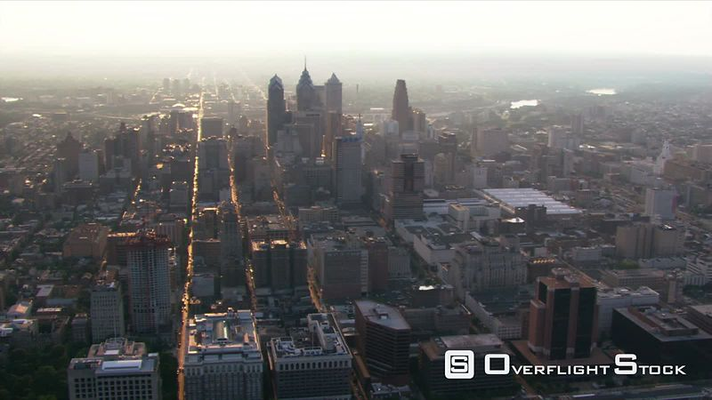 Aerial view of Philadelphia from the east.