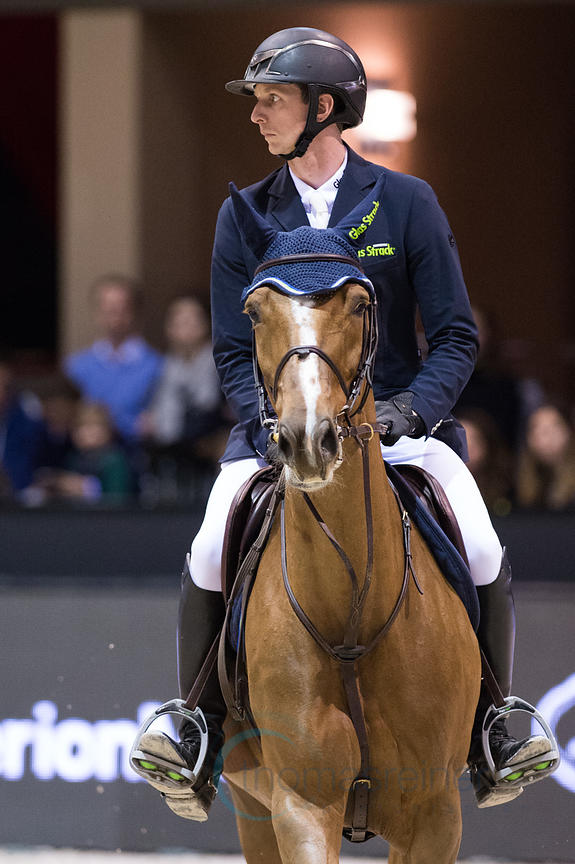 Bordeaux, France, 2.2.2018, Sport, Reitsport, Jumping International de Bordeaux - . Bild zeigt Felix HASSMANN (GER) riding Balance 30 (5*)...2/02/18, Bordeaux, France, Sport, Equestrian sport Jumping International de Bordeaux - . Image shows Felix HASSMANN (GER) riding Balance 30 (5*).