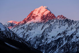 View of Mount Cook from Kea Point at Dusk