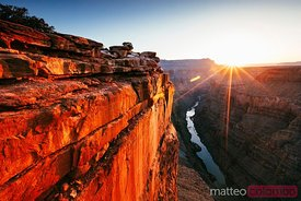 The edge of Grand Canyon at sunrise, Arizona, USA