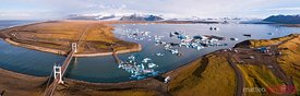 Aerial panoramic of Jokulsarlon glacial lake at sunrise, Iceland