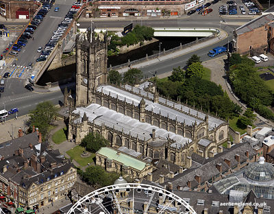 aerial photograph of Manchester Cathedral,