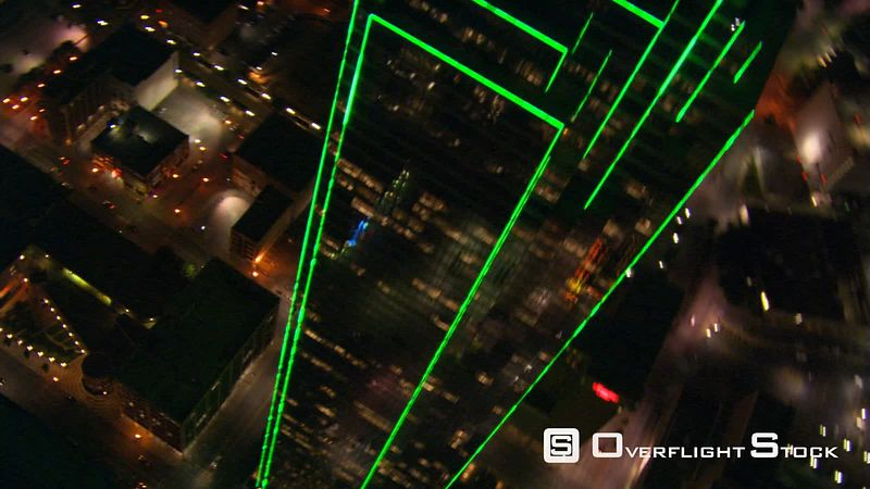 Aerial night view of the Big Pickle in Dallas, Texas