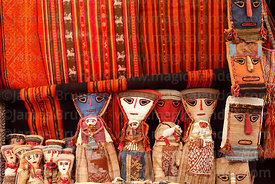 Textiles and dolls for sale in Pisac market, Sacred Valley, Peru