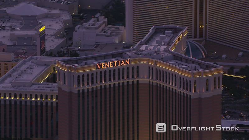 Las Vegas, Nevada Aerial view the Venetian hotel and casino on the Las Vegas Strip.  Shot with Cineflex and RED EpicW Helium.