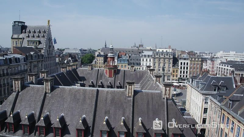 Taking Off Facing Lille Bourse Revealing Lille Grand Place, Filmed by Drone, Nord, France