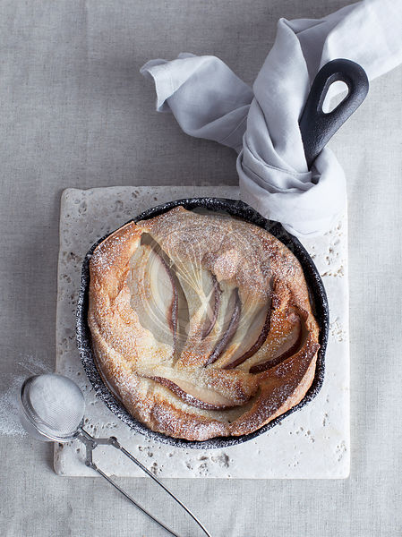 Pear Dutch Baby Pancake in Skillet