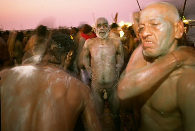 India - Allahbad - Ash smeared saddhus after their early morning dip at the Ardh Kumbh Mela 1995, Allahbad, India