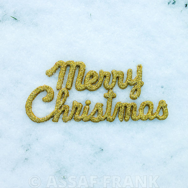 Merry Christmas decoration on snow