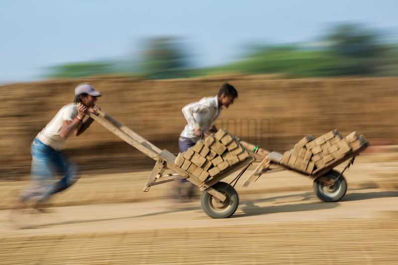 Brick Workers Race to Fill their Quotas Delivering Dried Bricks to the Kilns