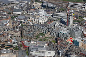 Sheffield aerial photograph of the Town Hall the Peace Gardens the Winter Gardens and the Crucible Theatre in the City centre