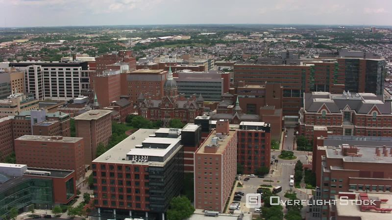 Baltimore, Maryland Aerial view of Johns Hopkins Hospital building.  Shot with Cineflex and RED EpicW Helium.