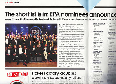 Access All Areas magazine - January 2016 - Event Production Awards - page 4
