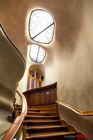 Staircase inside Casa Batllo by Gaudi, Barcelona, Spain