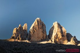 Famous three peaks in summer Dolomites Italy