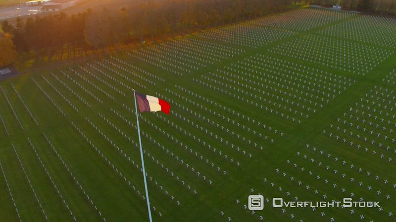 Aerial Fly by Around National French Flag in the Middle of Fraternity Memorial of Neuville Saint Vaast, Nord, France