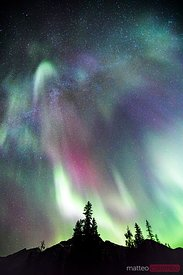 Northern lights (Aurora Borealis) and milky way, Jasper, Canada
