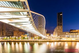 Zubizuri bridge by architect Calatrava, Bilbao, Spain