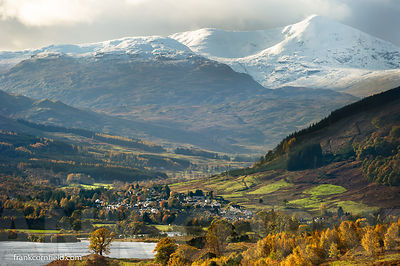 View of Killin in autumn sunshine.
