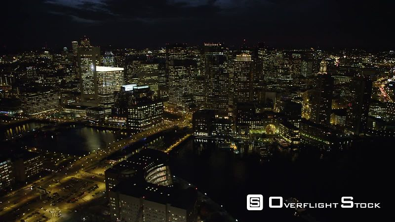 Over Downtown Boston at Night. Shot in November