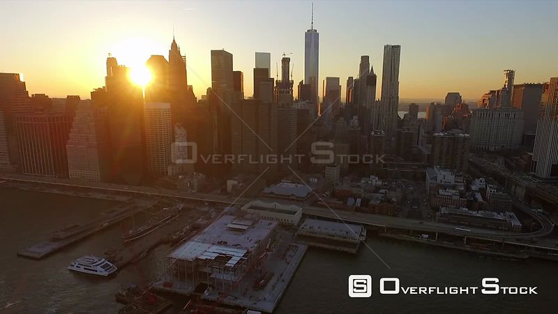 Drone Footage Financial District and Pier 15 New York City USA