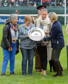 Miss Karyn Shuter & Mrs Angela Hislop & Mrs Val Ryan, prize giving, Land Rover Burghley Horse Trials 2017