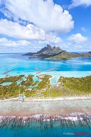 Aerial view of Bora Bora island with luxury resort, French Polynesia