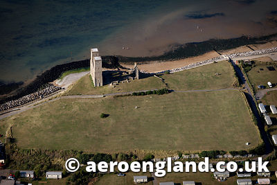 aerial photograph of Roman 'Saxon Shore' fort Reculver Kent England UK