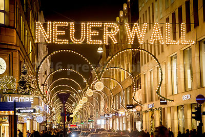 The exclusive shopping Street in Hamburg lit up with Fabulous Christmas Lights