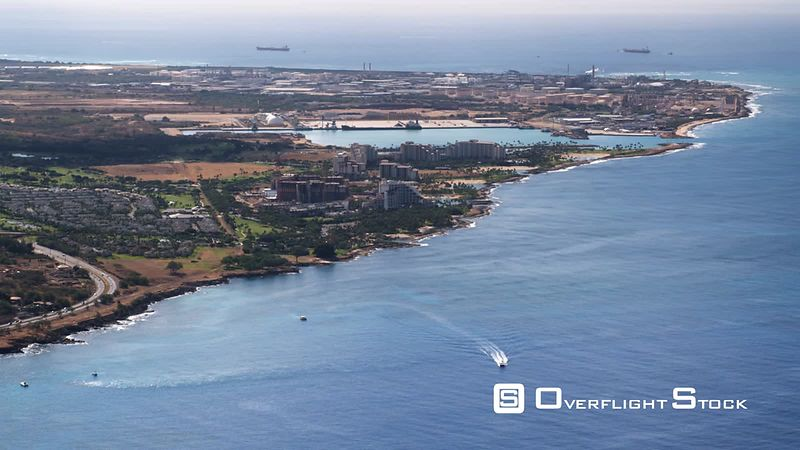 Flying toward Campbell Industrial Park on Barber's Point, Hawaii.