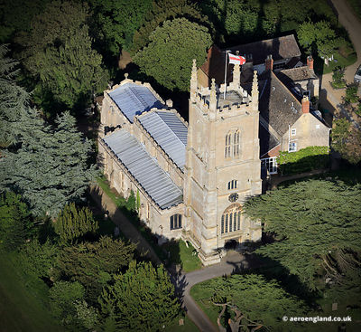 aerial photograph of Parish Church of Saint Michael and All Angels Edenham Lincolnshire