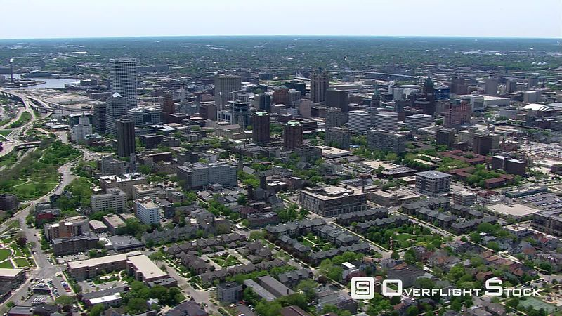 Wide aerial view of Milwaukee, Wisconsin's, downtown area