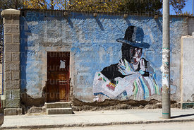 Cholita mural on wall, Uyuni, Bolivia
