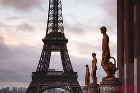 Sunrise over Eiffel tower, Paris, France