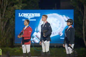 Kent Farrington (USA), William Whitaker (GBR)and Marie Hecart (FRA) prize giving ceremony at the CSIO Barcelona on 10.10.2014, Longines Cup of the City of Barcelona, Club Real de Polo, Barcelona, Spain