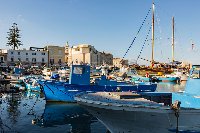 Fishing Boats Moored in the Harbour at Trani
