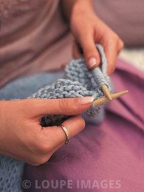 Knitting a blue mohair shawl