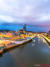 High angle view of Guggenheim museum and Bilbao city, Spain