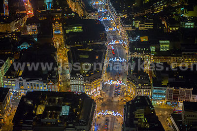 Aerial view of Oxford Circus at night, London