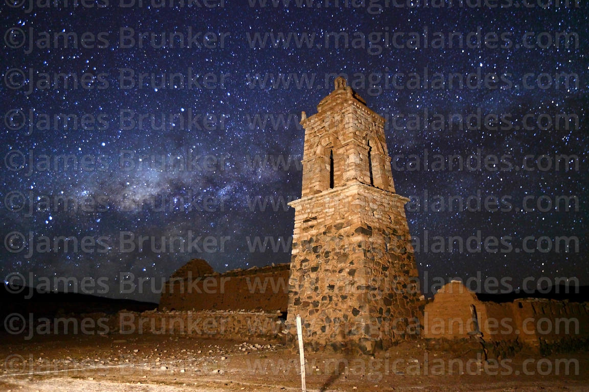 Ruined church at Huacolle and Milky Way Galactic Centre, Sajama National Park, Bolivia