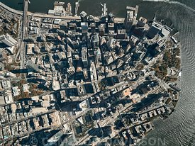Aerial photograph of the southern Tip of Manhattan from 4500 feet