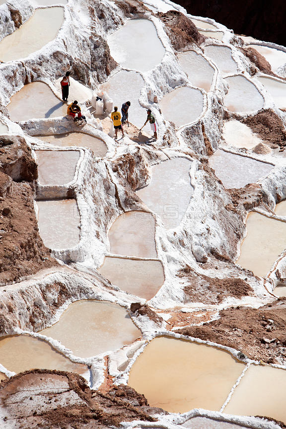 Aerial view of salt mines, Maras, Peru 2006.