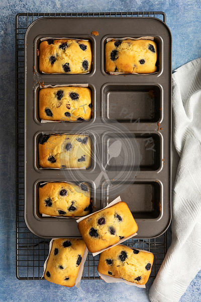 Freshly baked individual blueberry loaf cakes cooling in and on top of a baking pan.